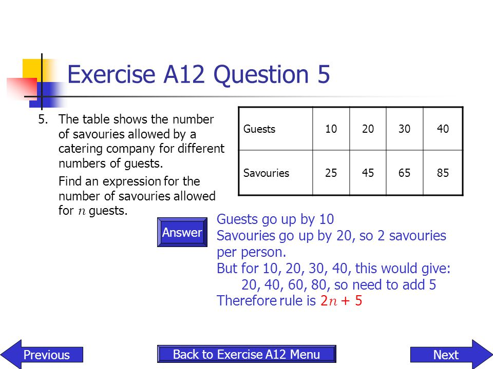 Exercise A12 Question 5 Guests go up by 10