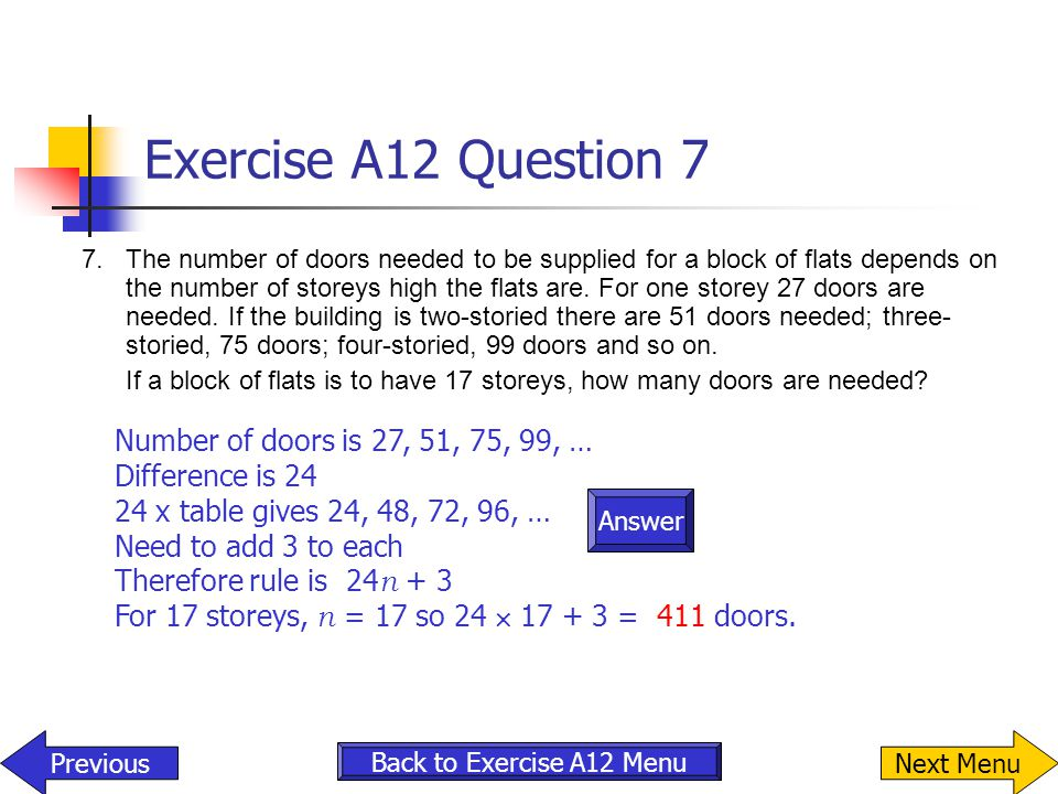Exercise A12 Question 7 Number of doors is 27, 51, 75, 99, …