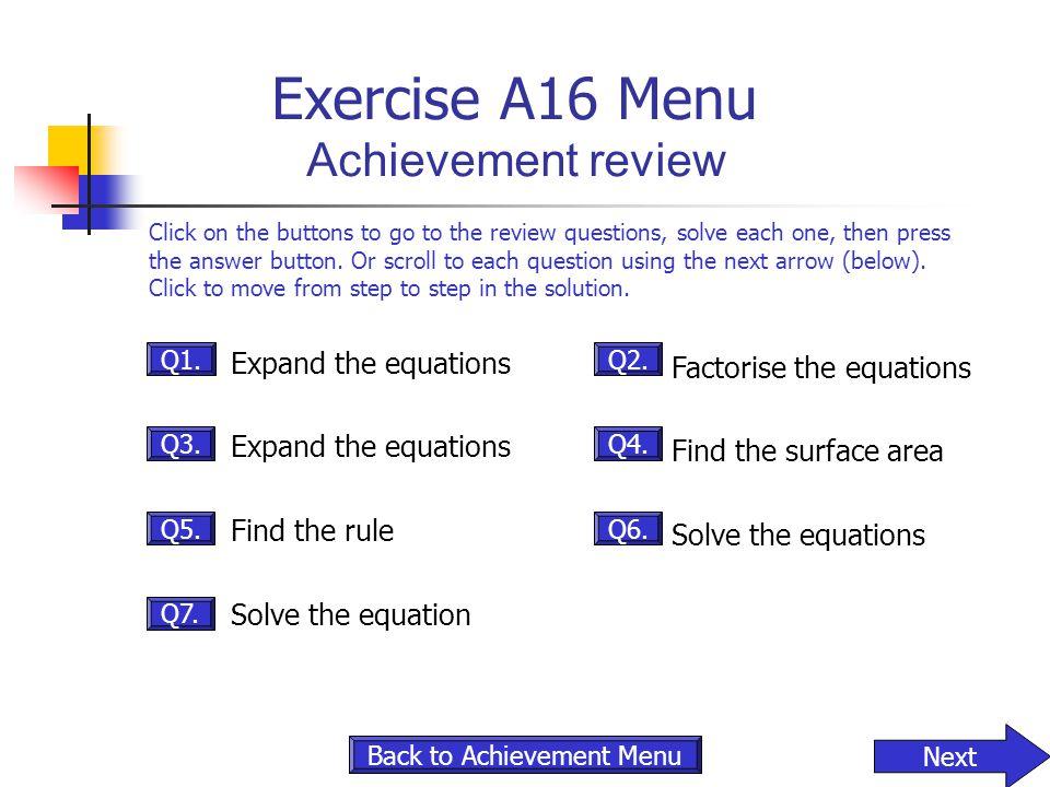 Exercise A16 Menu Achievement review
