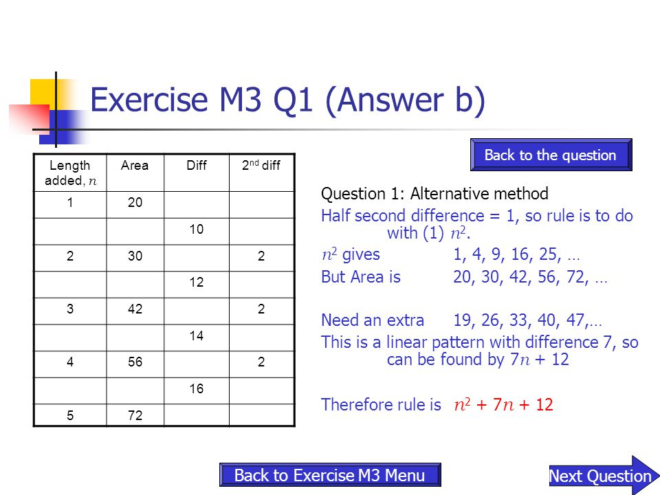 Exercise M3 Q1 (Answer b) Question 1: Alternative method