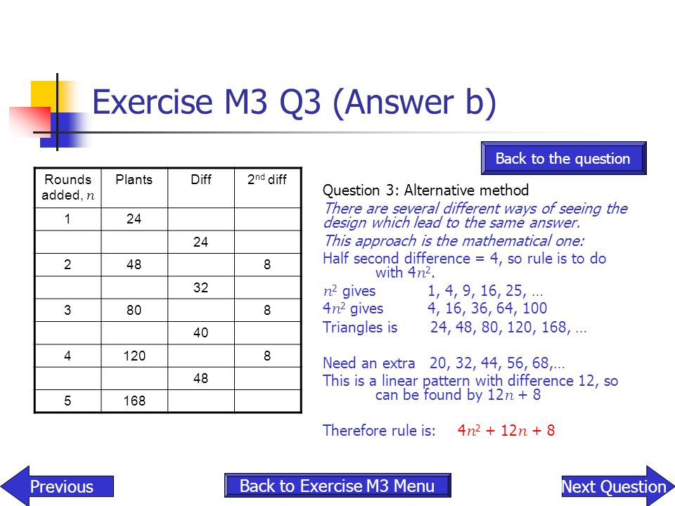Exercise M3 Q3 (Answer b) Previous Next Question