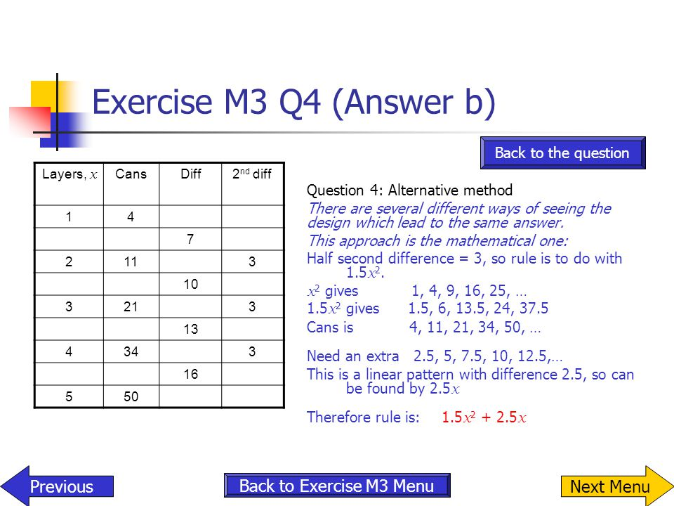 Exercise M3 Q4 (Answer b) Previous Next Menu Back to Exercise M3 Menu