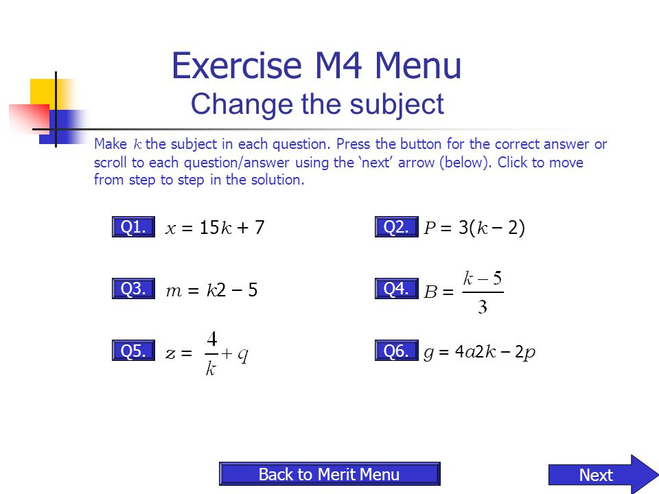 Exercise M4 Menu Change the subject