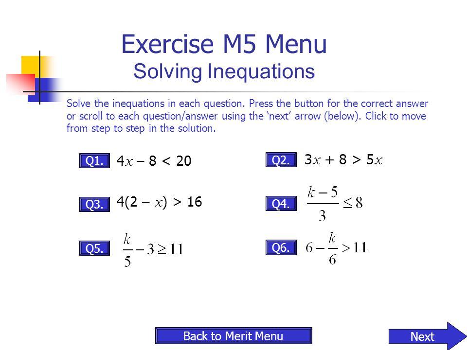 Exercise M5 Menu Solving Inequations