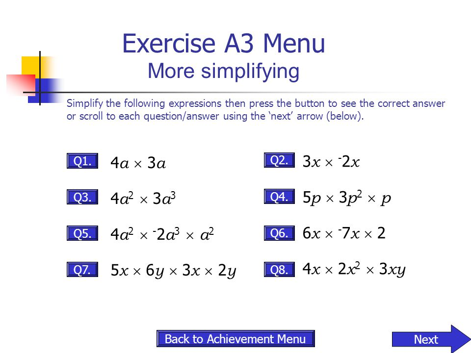 Exercise A3 Menu More simplifying
