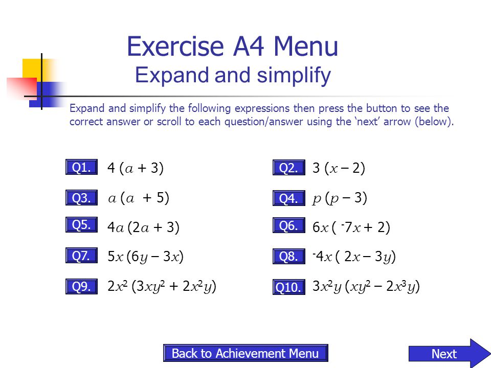 Exercise A4 Menu Expand and simplify