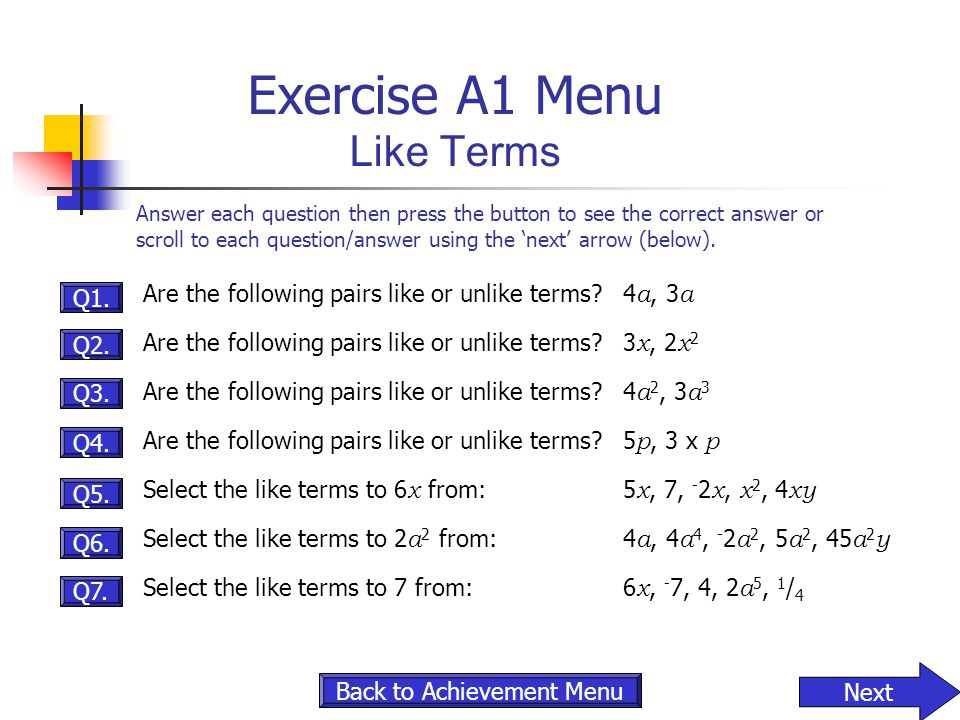 Exercise A1 Menu Like Terms