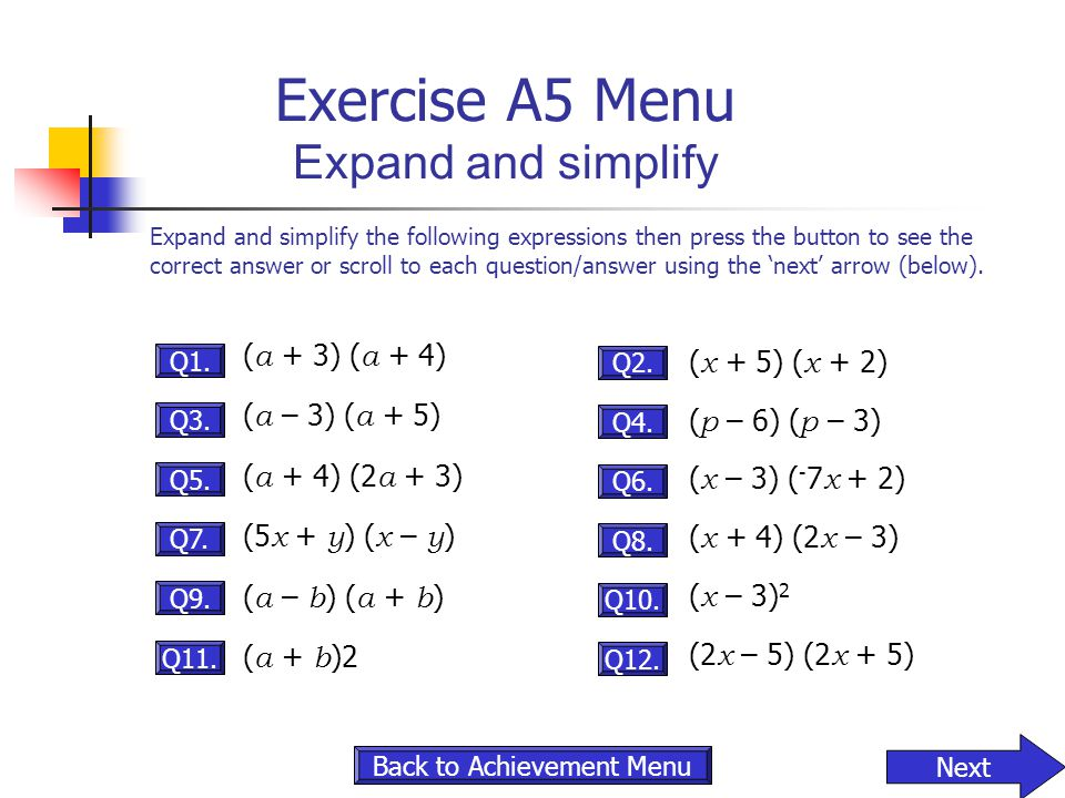 Exercise A5 Menu Expand and simplify