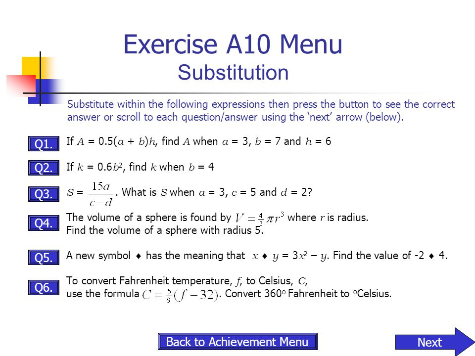 Exercise A10 Menu Substitution
