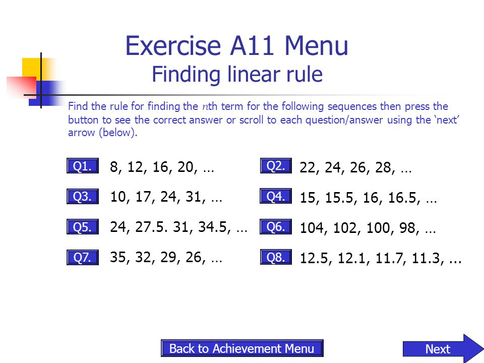 Exercise A11 Menu Finding linear rule