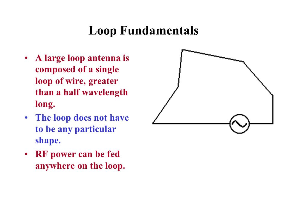 Loop Fundamentals A large loop antenna is composed of a single loop of wire, greater than a half wavelength long.
