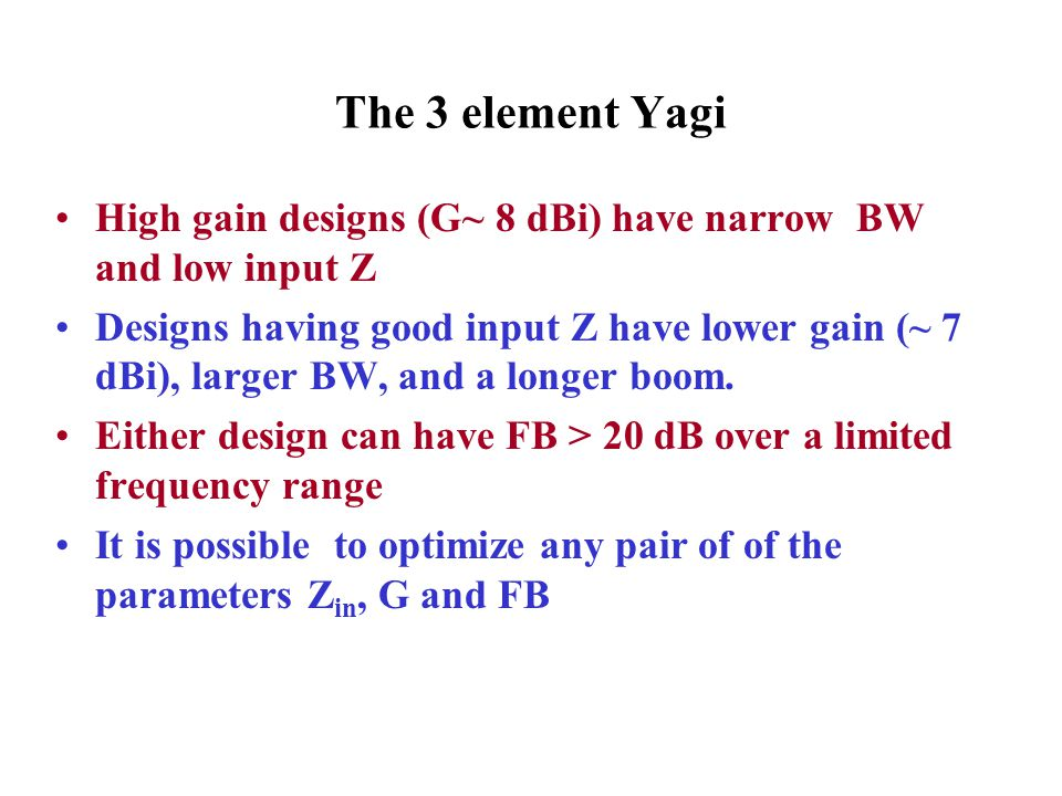 The 3 element Yagi High gain designs (G~ 8 dBi) have narrow BW and low input Z.
