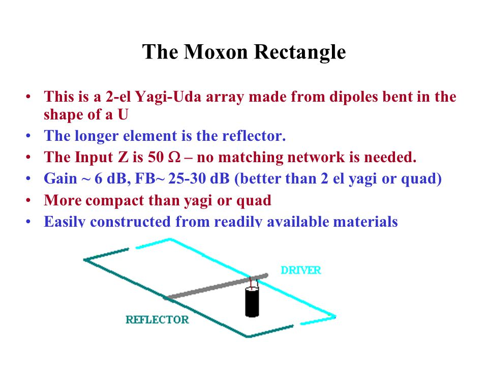 The Moxon Rectangle This is a 2-el Yagi-Uda array made from dipoles bent in the shape of a U. The longer element is the reflector.