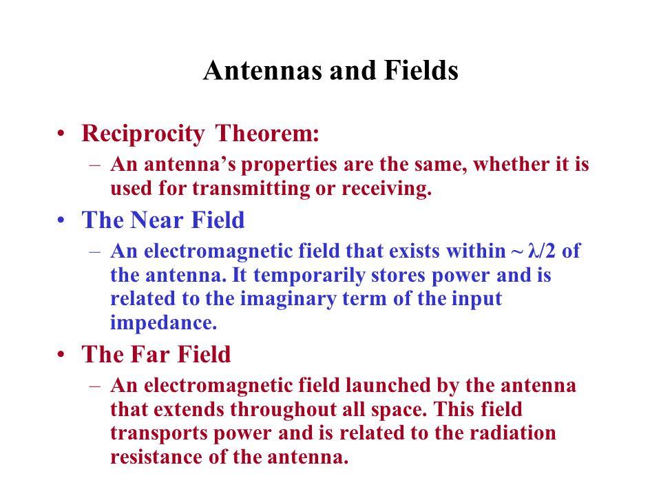 Antennas and Fields Reciprocity Theorem: The Near Field The Far Field