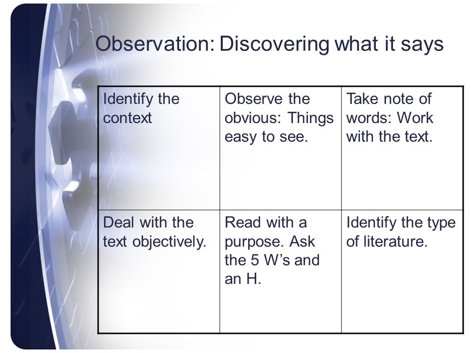 Observation: Discovering what it says
