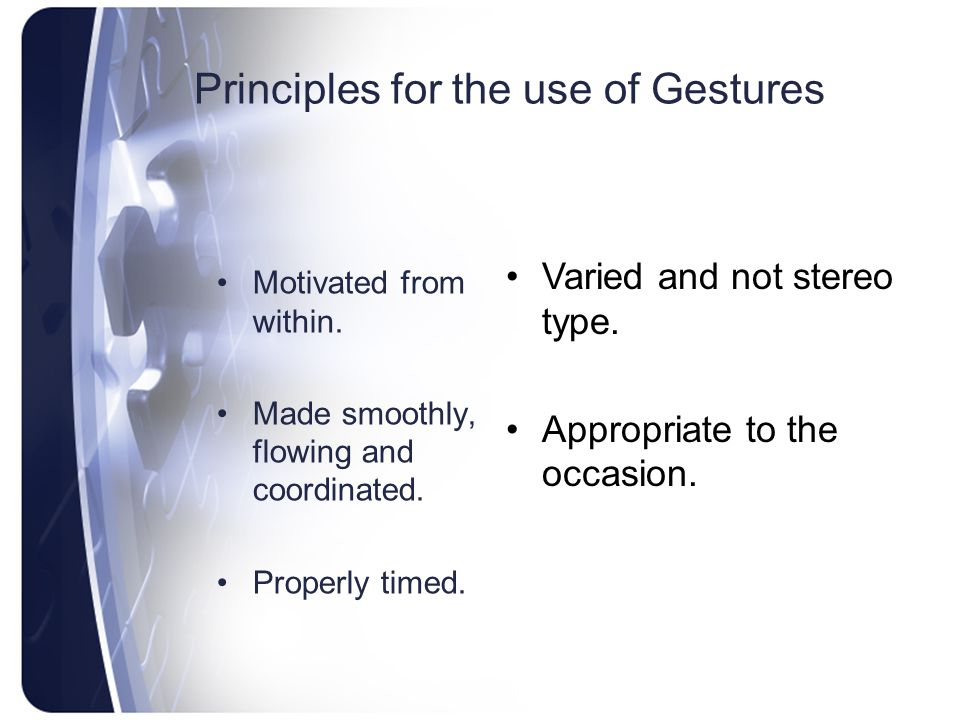 Principles for the use of Gestures