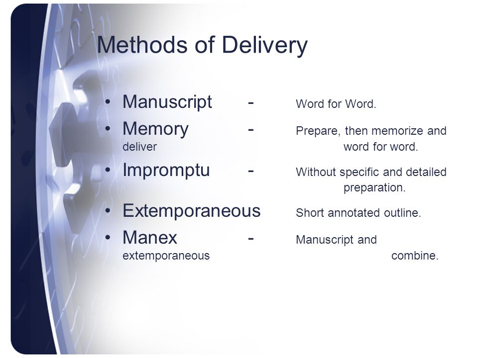 Methods of Delivery Manuscript - Word for Word.
