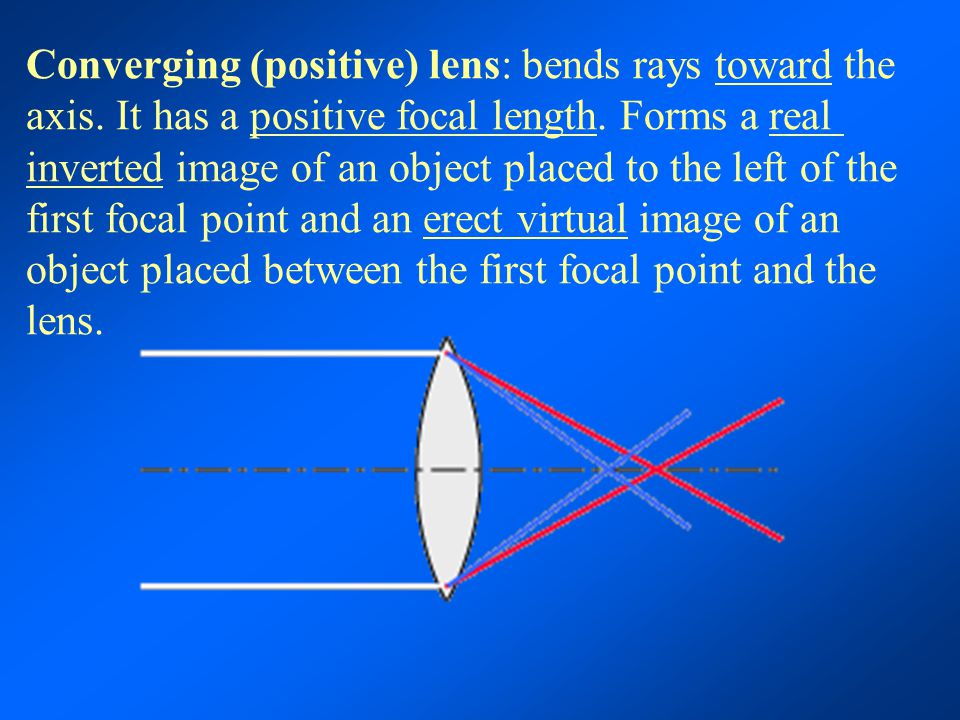Converging (positive) lens: bends rays toward the