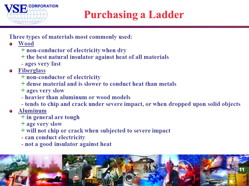 Purchasing a Ladder Three types of materials most commonly used: Wood