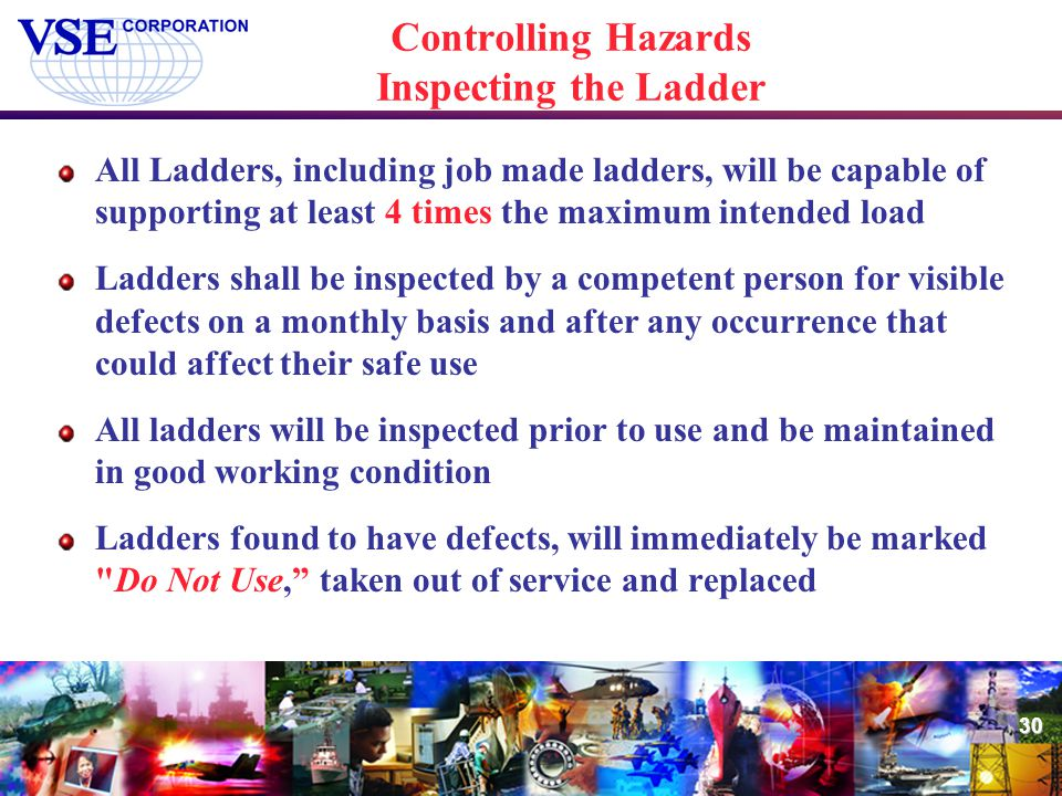 Controlling Hazards Inspecting the Ladder