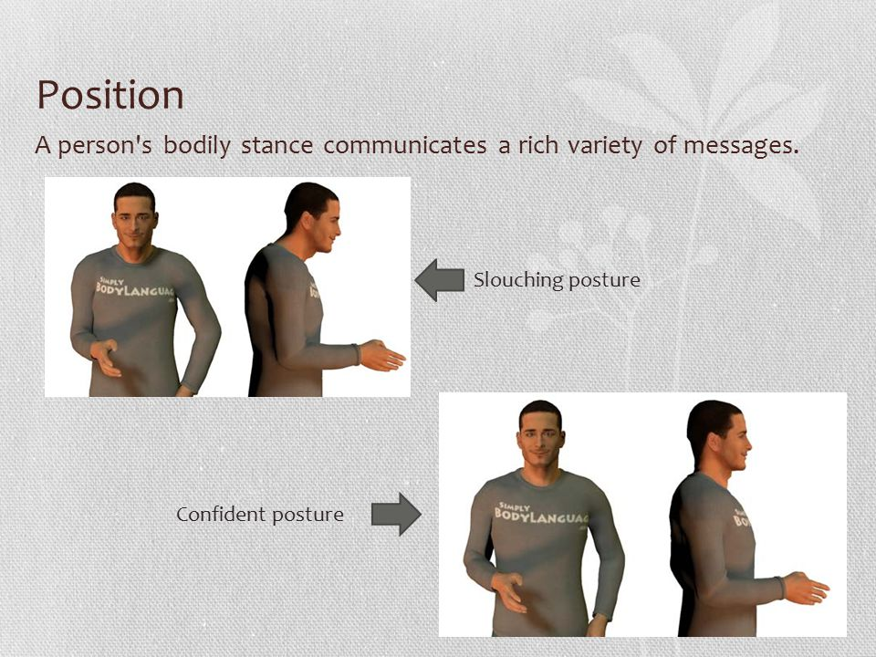 Position A person s bodily stance communicates a rich variety of messages.