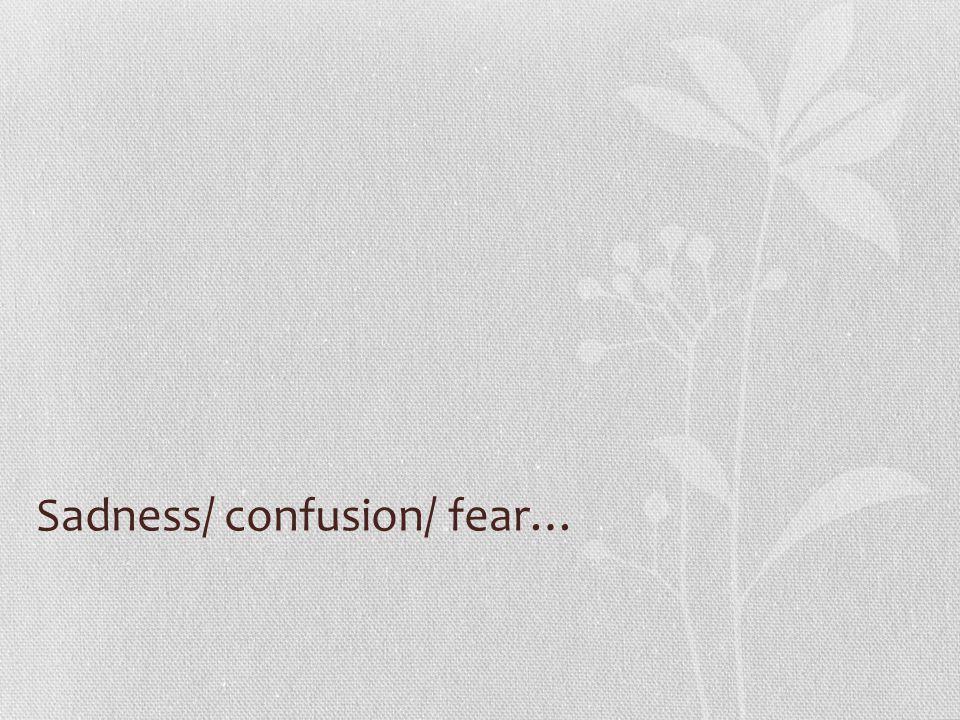 Sadness/ confusion/ fear…