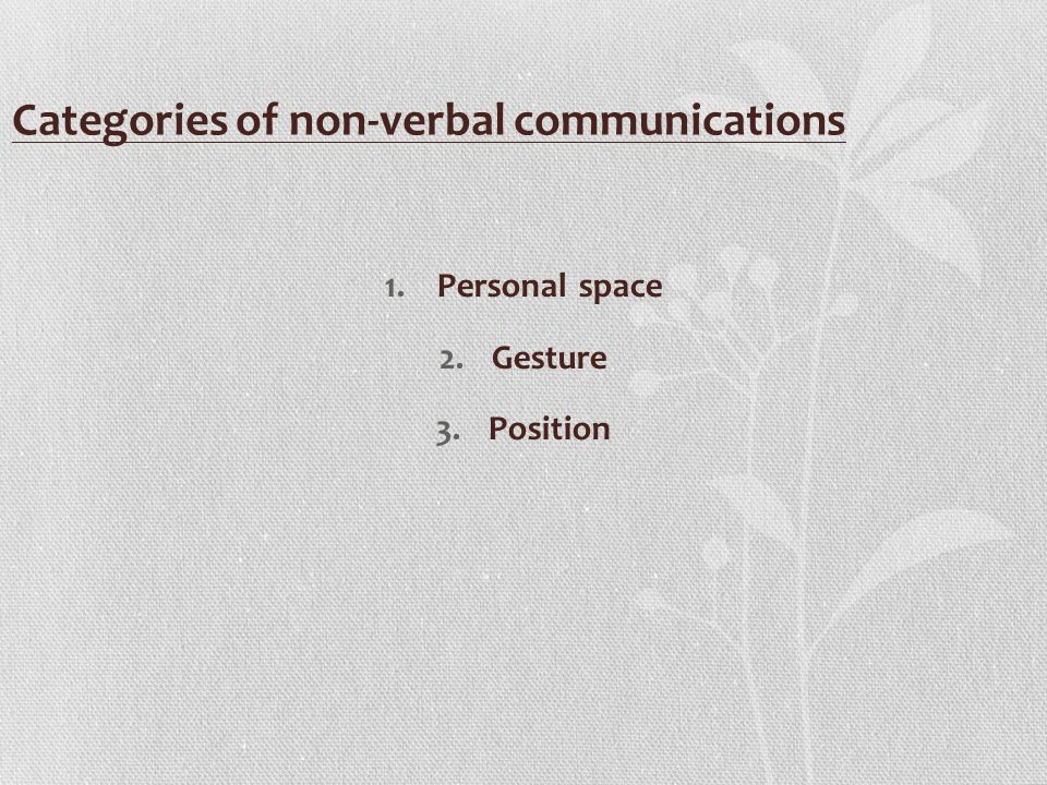 Categories of non-verbal communications