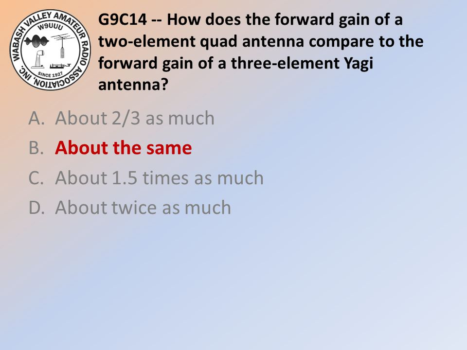 G9C14 -- How does the forward gain of a two-element quad antenna compare to the forward gain of a three-element Yagi antenna
