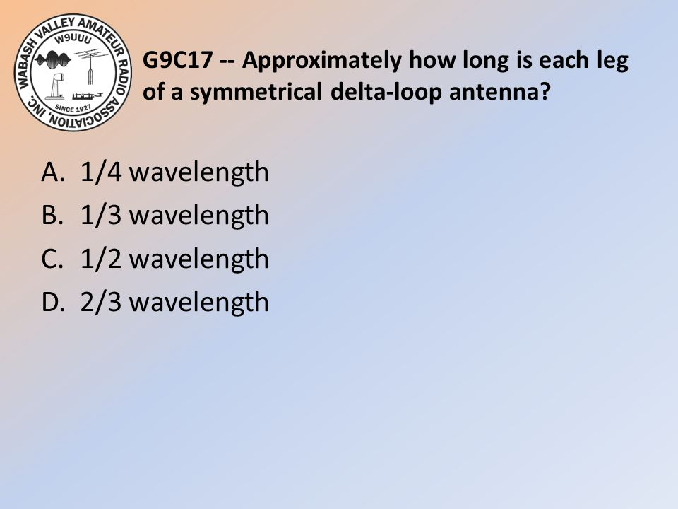 G9C17 -- Approximately how long is each leg of a symmetrical delta-loop antenna