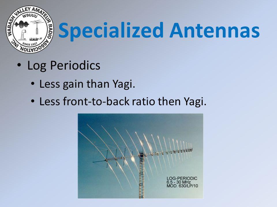 Specialized Antennas Log Periodics Less gain than Yagi.