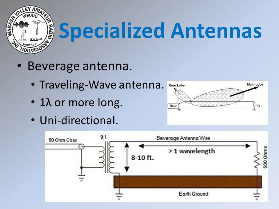 Specialized Antennas Beverage antenna. Traveling-Wave antenna.