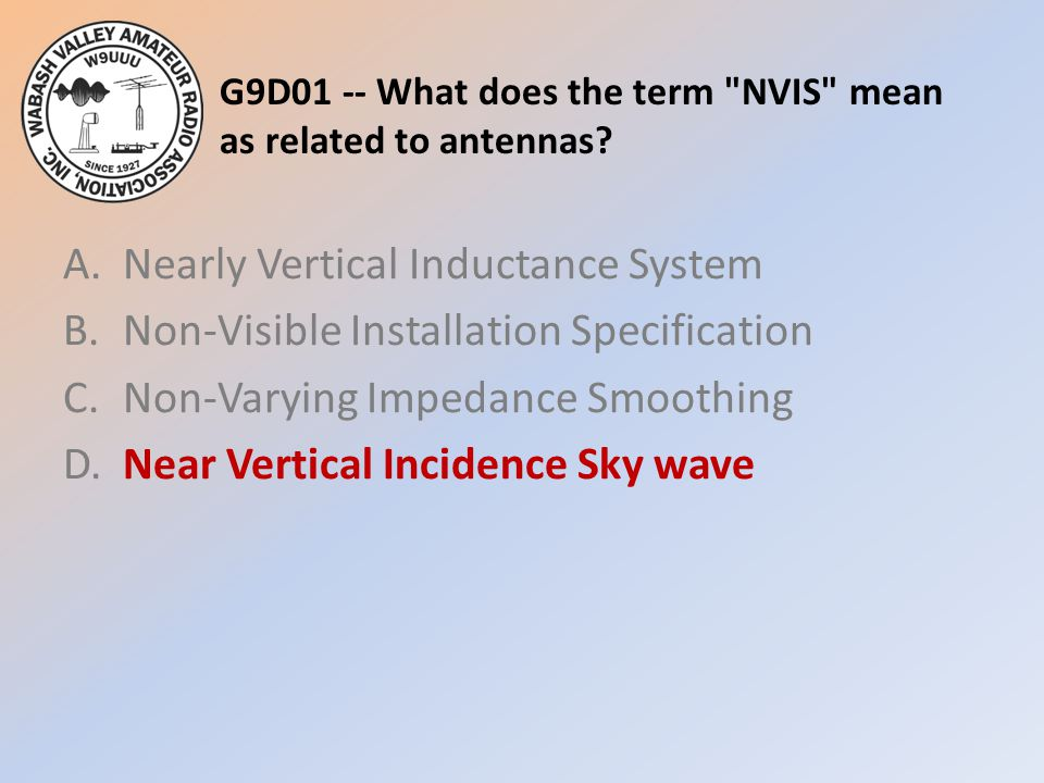 G9D01 -- What does the term NVIS mean as related to antennas