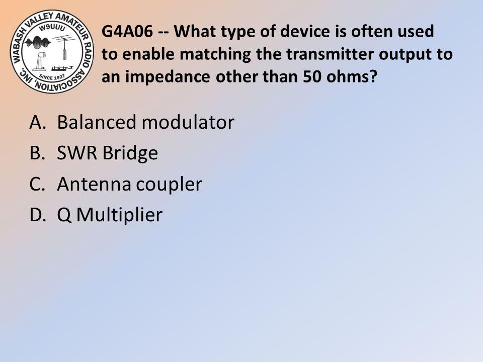 A. Balanced modulator B. SWR Bridge C. Antenna coupler D. Q Multiplier
