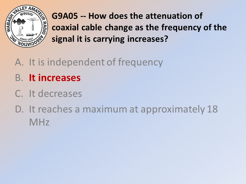 G9A05 -- How does the attenuation of coaxial cable change as the frequency of the signal it is carrying increases