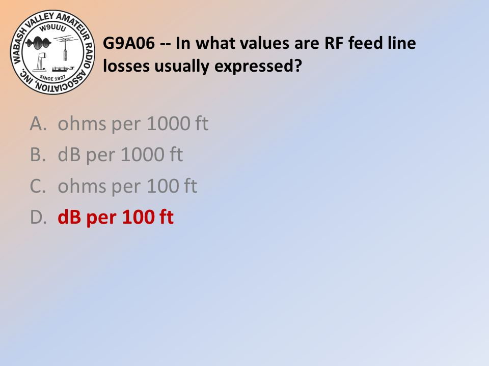 G9A06 -- In what values are RF feed line losses usually expressed