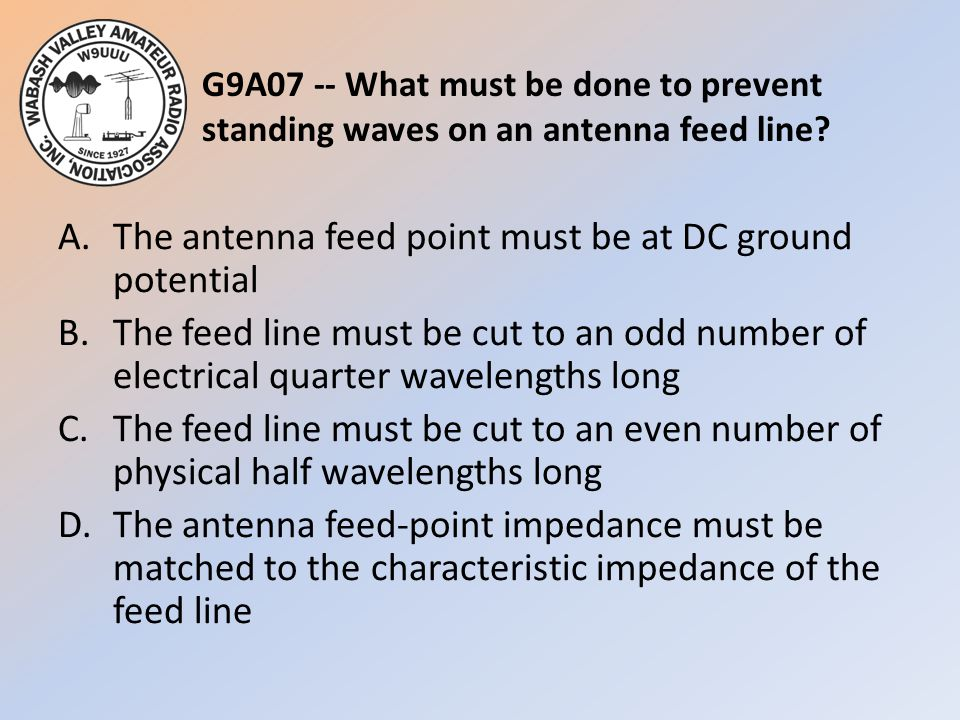 G9A07 -- What must be done to prevent standing waves on an antenna feed line