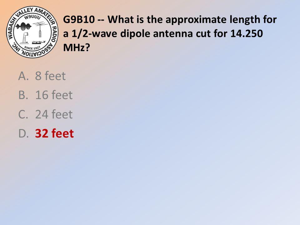 A. 8 feet B. 16 feet C. 24 feet D. 32 feet