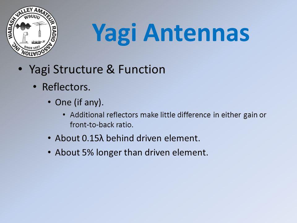 Yagi Antennas Yagi Structure & Function Reflectors. One (if any).