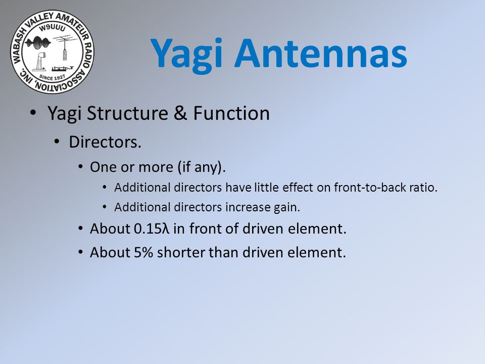 Yagi Antennas Yagi Structure & Function Directors.