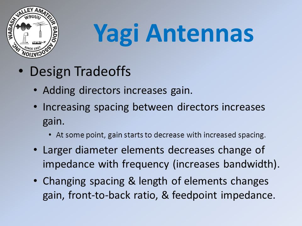 Yagi Antennas Design Tradeoffs Adding directors increases gain.