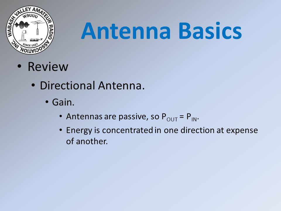 Antenna Basics Review Directional Antenna. Gain.