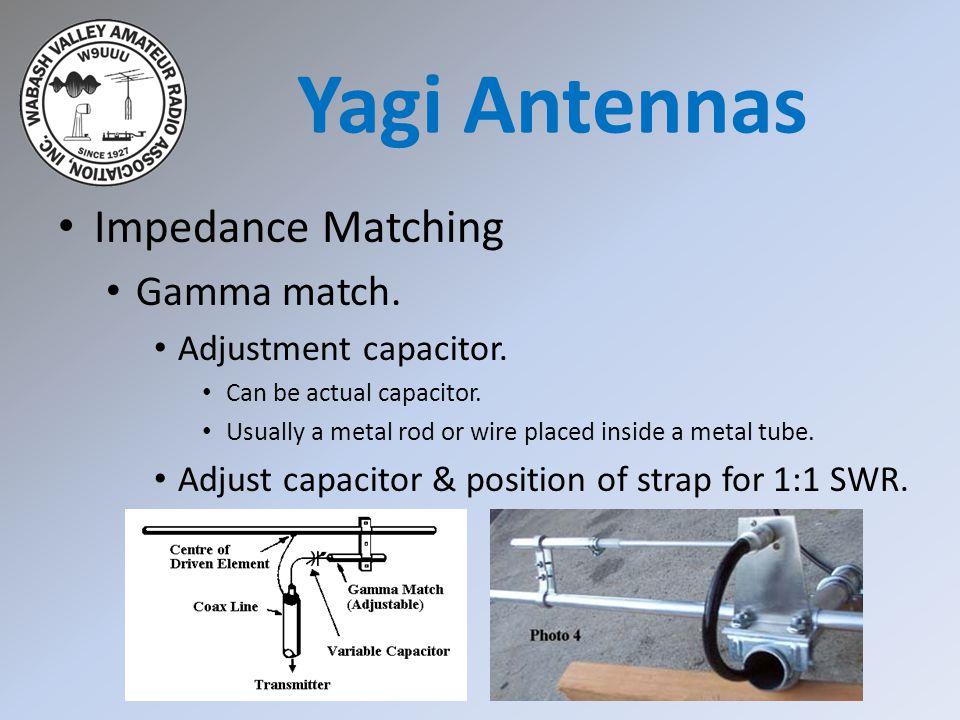 Yagi Antennas Impedance Matching Gamma match. Adjustment capacitor.