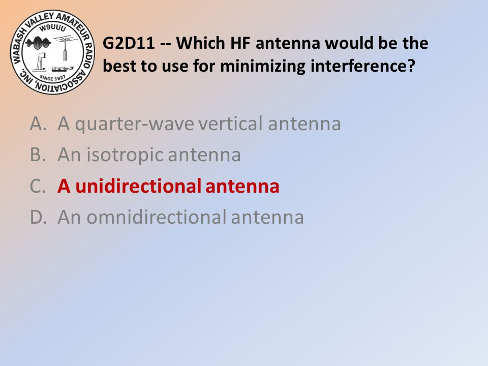 G2D11 -- Which HF antenna would be the best to use for minimizing interference