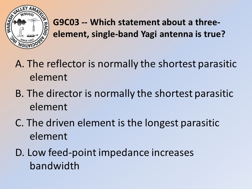 G9C03 -- Which statement about a three-element, single-band Yagi antenna is true