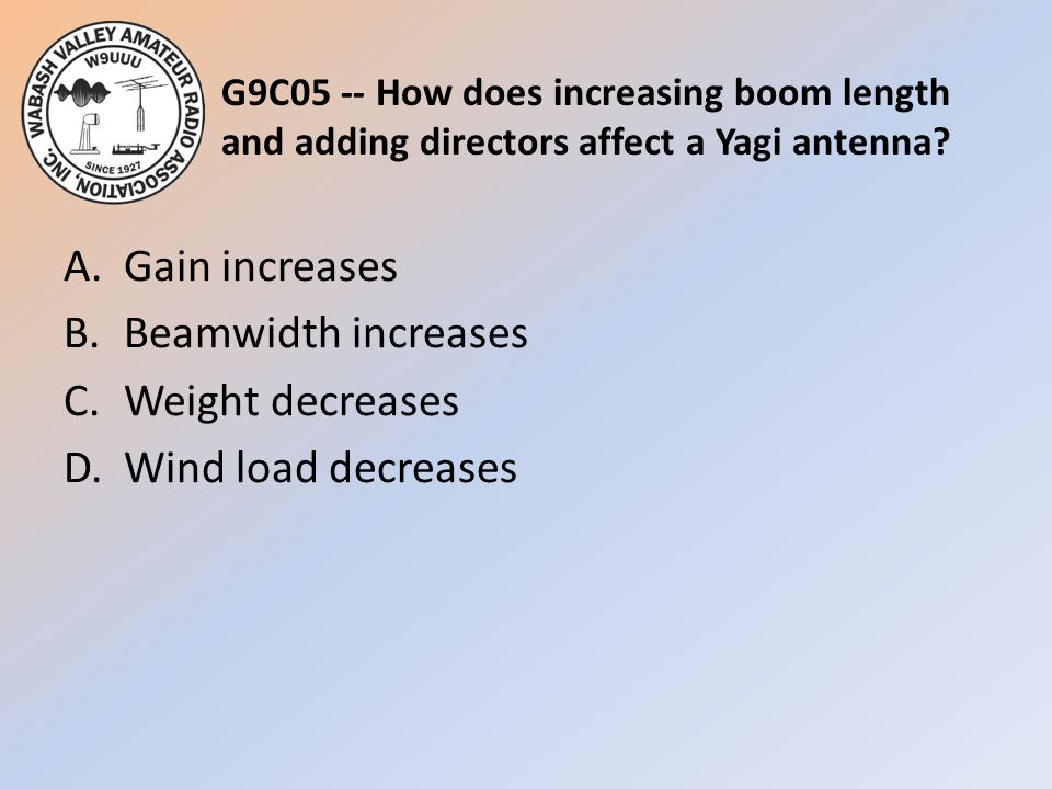 G9C05 -- How does increasing boom length and adding directors affect a Yagi antenna