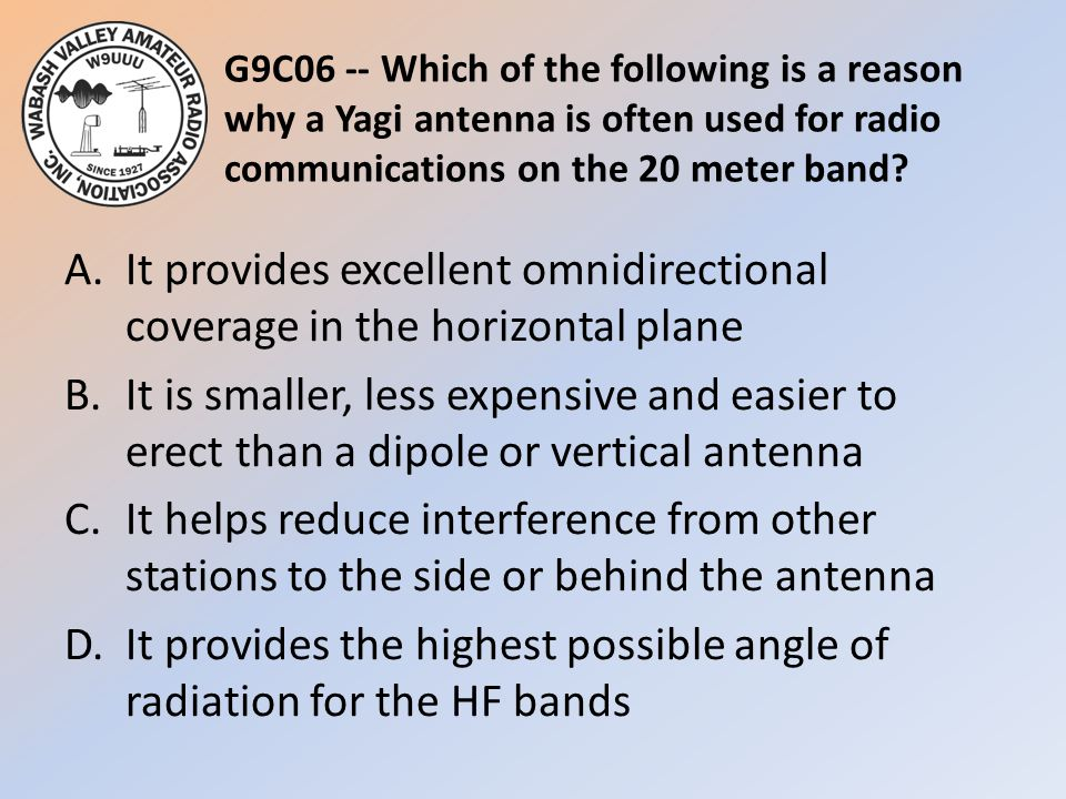 G9C06 -- Which of the following is a reason why a Yagi antenna is often used for radio communications on the 20 meter band