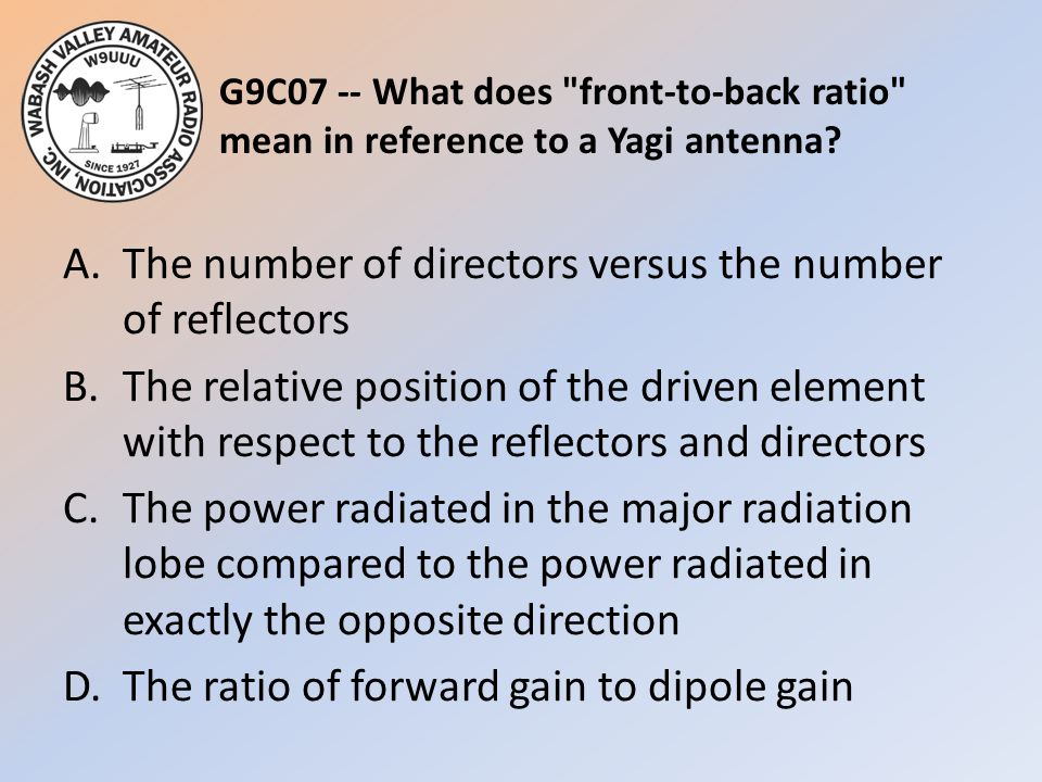 G9C07 -- What does front-to-back ratio mean in reference to a Yagi antenna