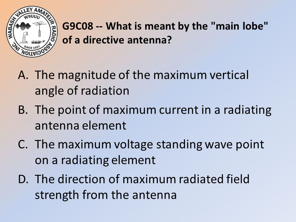 G9C08 -- What is meant by the main lobe of a directive antenna