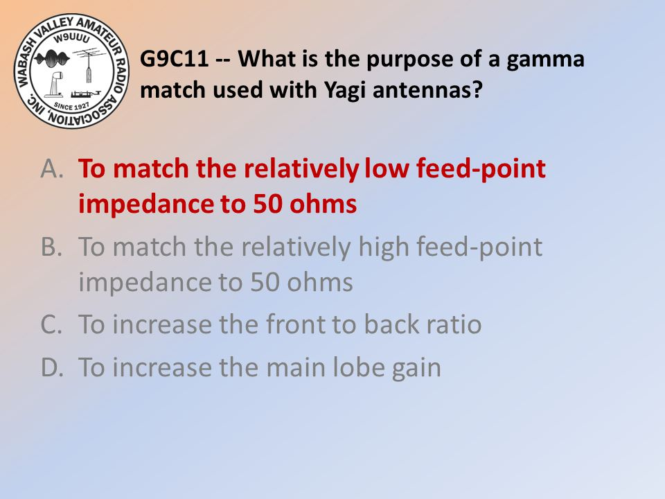 G9C11 -- What is the purpose of a gamma match used with Yagi antennas