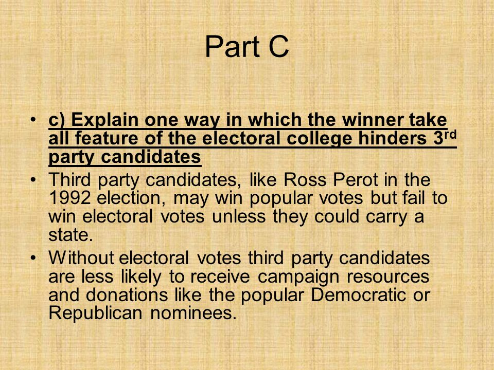 Part C c) Explain one way in which the winner take all feature of the electoral college hinders 3rd party candidates.